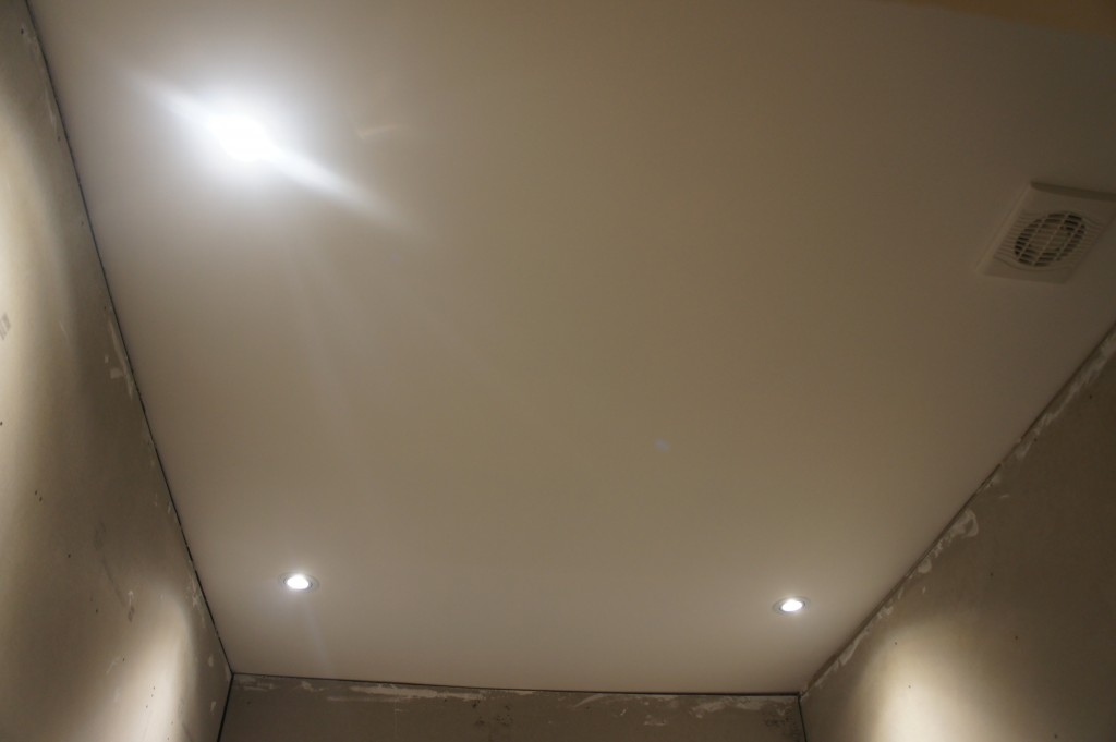 New gyprock roof and down lights with fan fitted by the electrician.